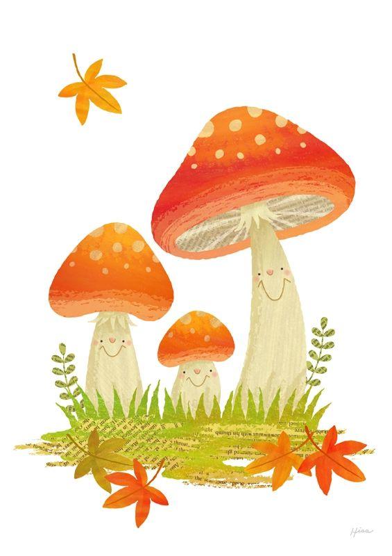 Mushroom clipart mushroom tree. Cute happy mushrooms trees