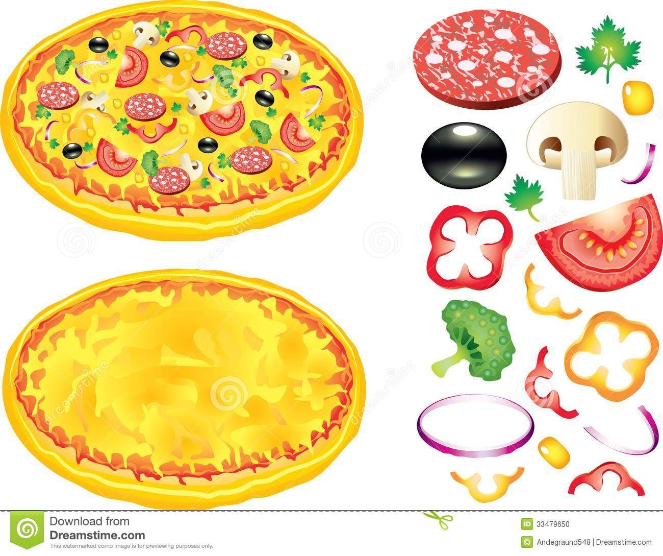 Mushrooms clipart pizza topping. Toppings clip art free