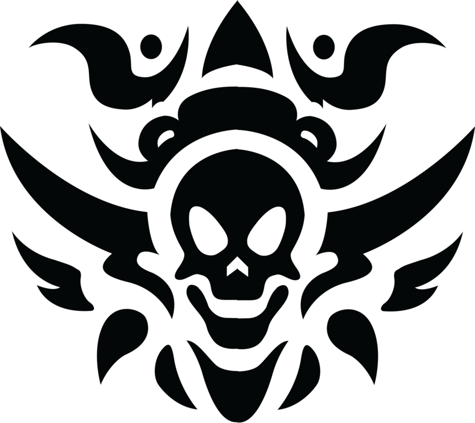 Tribal skull tattoo isolated. Png files download