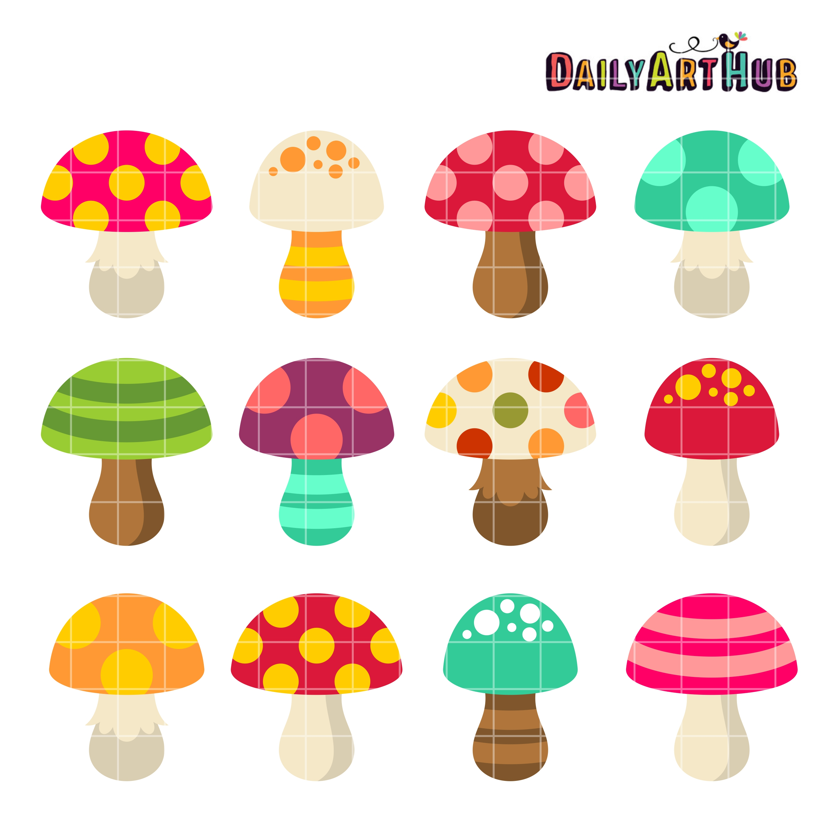 Mushrooms clipart. Cute clip art set