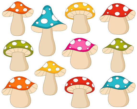 Woodland clipart woodland mushroom. Cute colorful fairy mushrooms