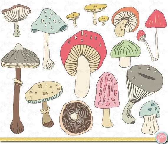 Mushroom clip art hand. Mushrooms clipart autumn