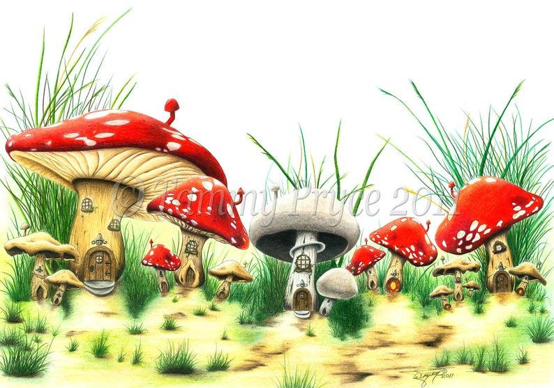 Mushrooms clipart fairy village. Mushroom fantasy tale x