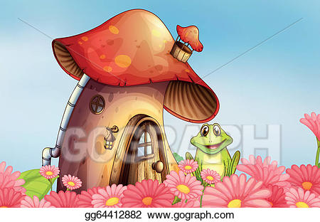 Vector stock a frog. Mushrooms clipart flower