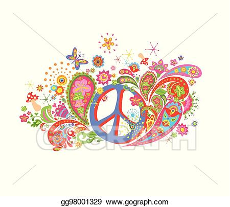 Peace clipart psychedelic flower. Vector art print with
