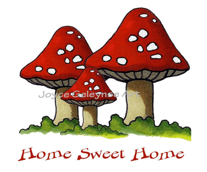 Printable clip art freehand. Mushrooms clipart sweet home