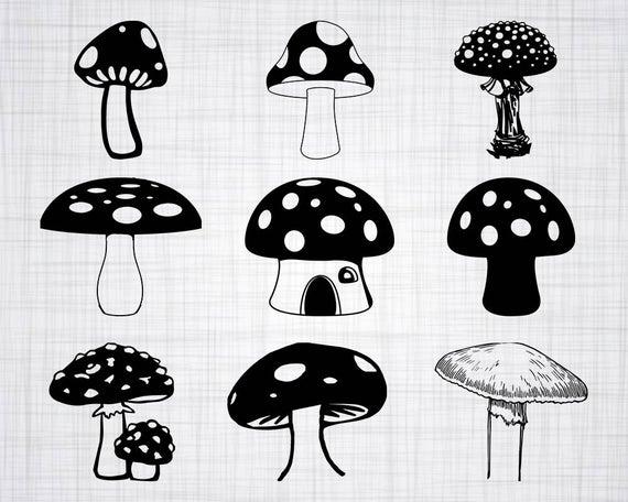 Mushroom svg bundle cut. Mushrooms clipart vector