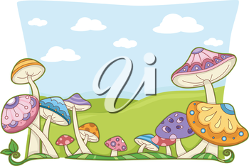 Background illustration featuring colorful. Mushrooms clipart whimsical