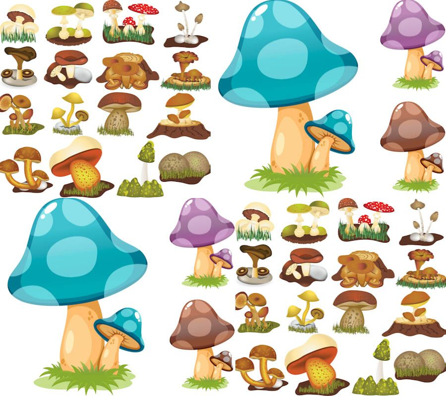 Mushrooms clipart whimsical. Color vector butterfly clip