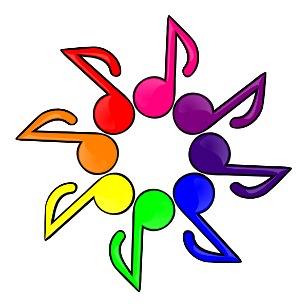 Color white background clip. Music clipart