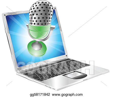 Vector stock microphone flying. Music clipart laptop