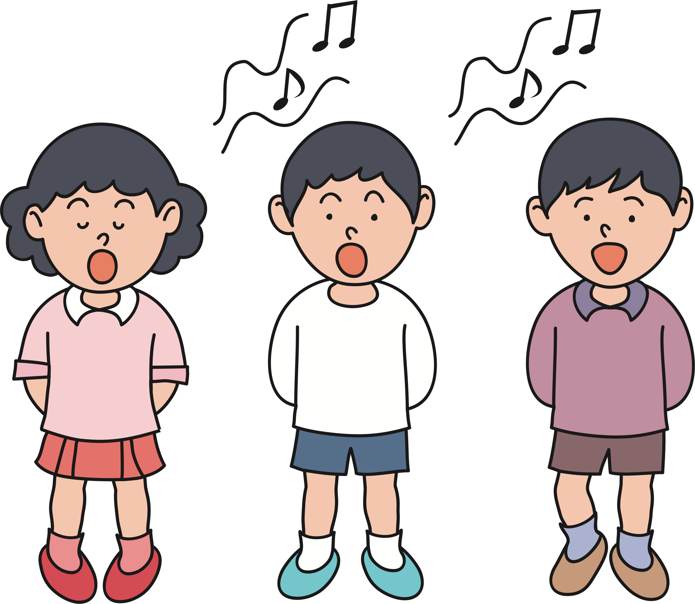 Children singing big image. Musician clipart boy singer