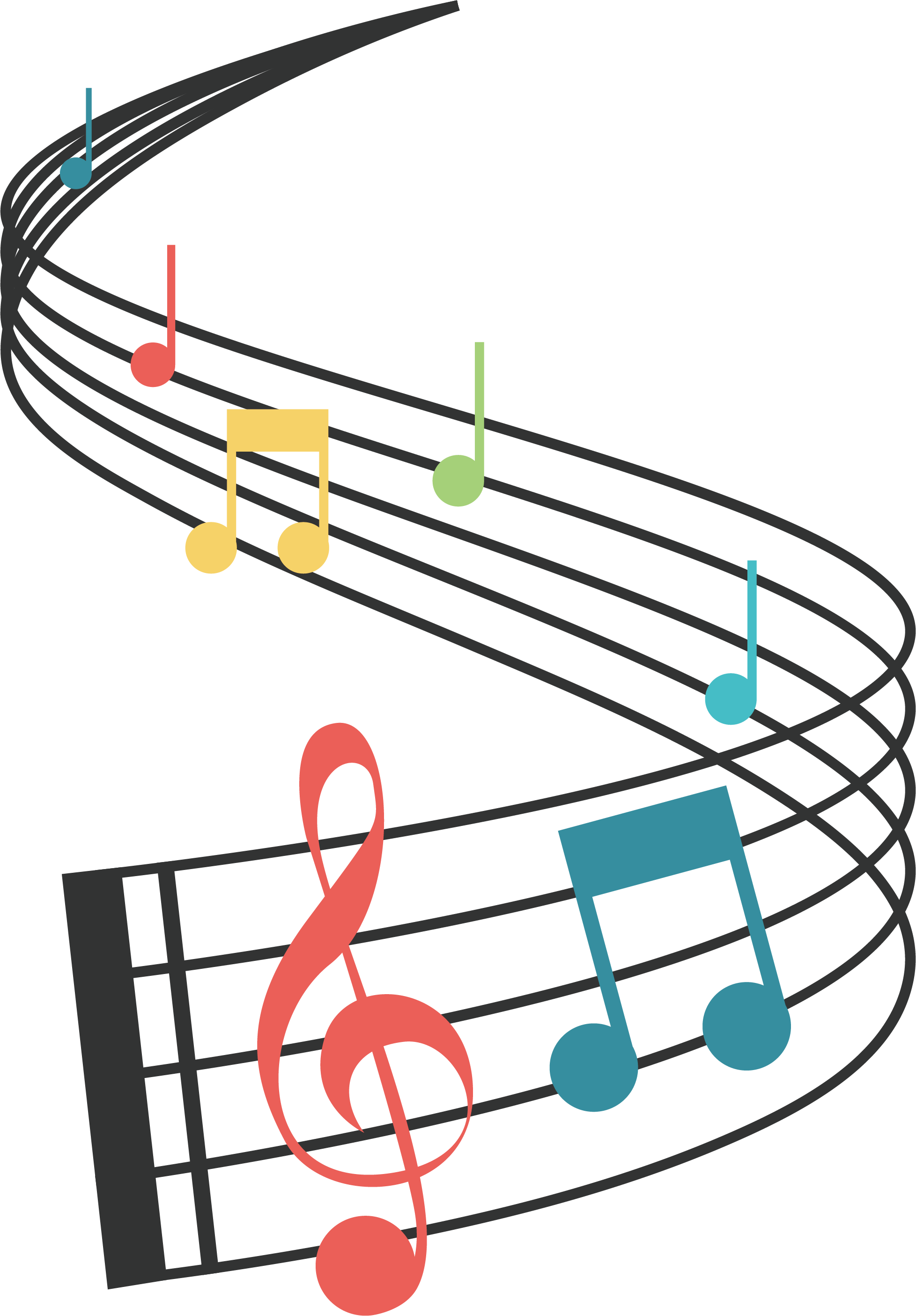 Note real and vector. Musician clipart music staff notes
