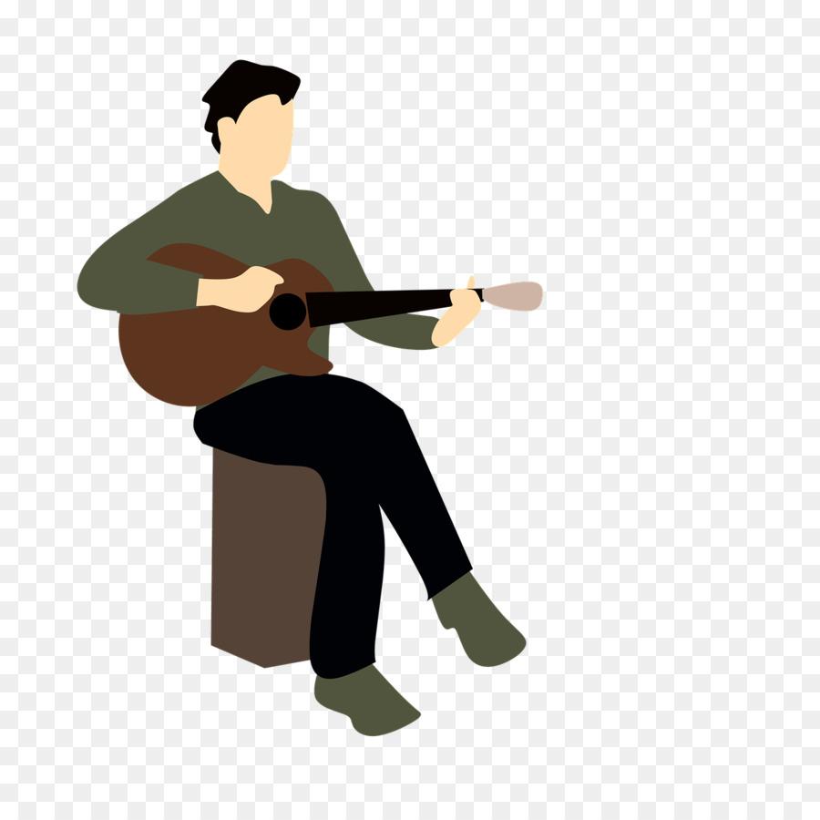 Singing cartoon music guitar. Musical clipart musician