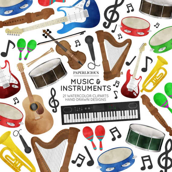 Musical clipart musician. Music watercolor cliparts instruments