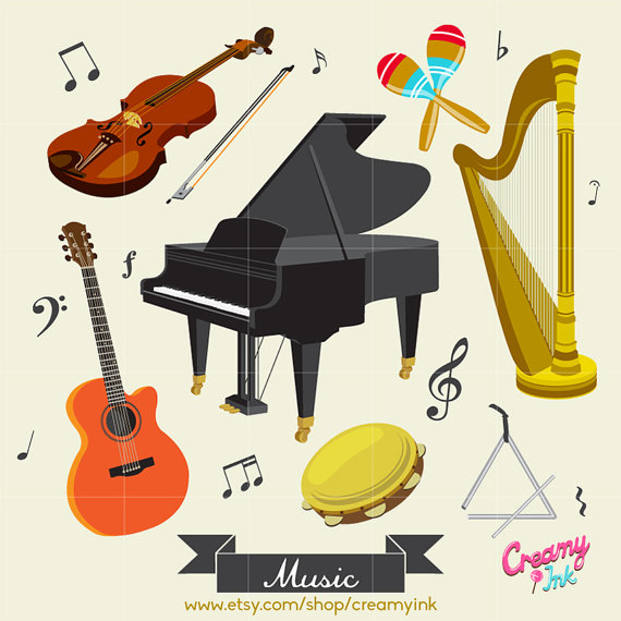 Music instrument digital vector. Musician clipart