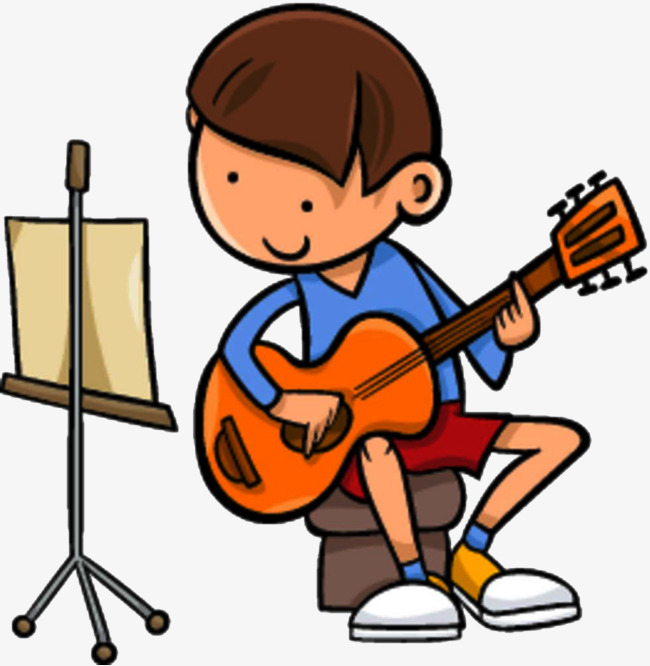 Kids play guitar child. Musician clipart