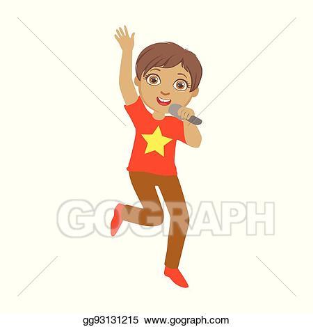 Clip art vector singing. Musician clipart boy singer