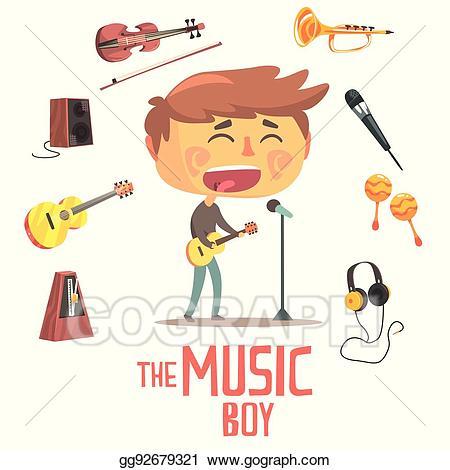 Vector art and kids. Musician clipart boy singer
