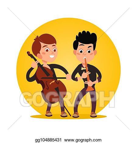 Musician clipart classic music. Vector illustration two male