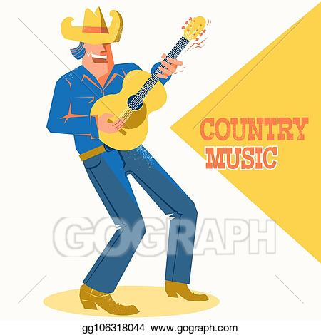 Musician clipart country concert. Vector art singer man
