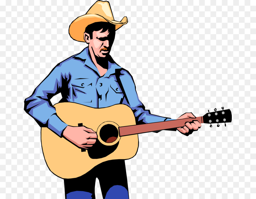 Cowboy hat illustration microphone. Musician clipart country music