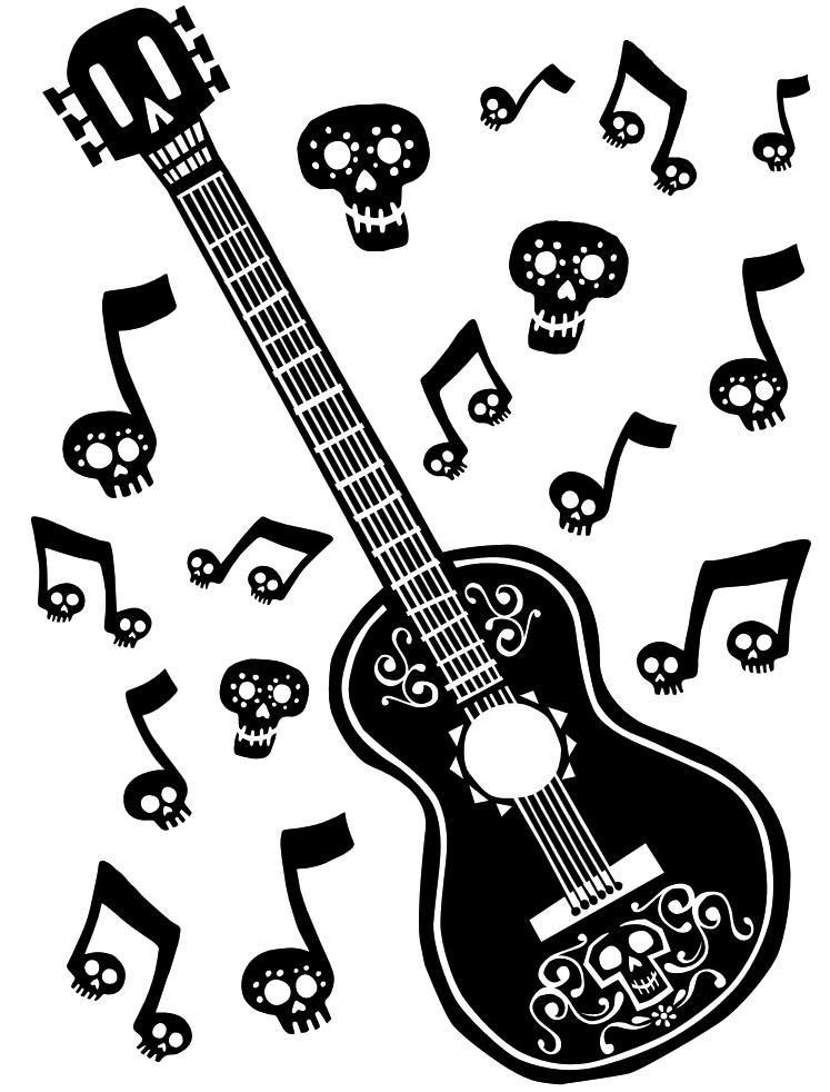 Musician clipart movie coco. Guitar coloring page disney