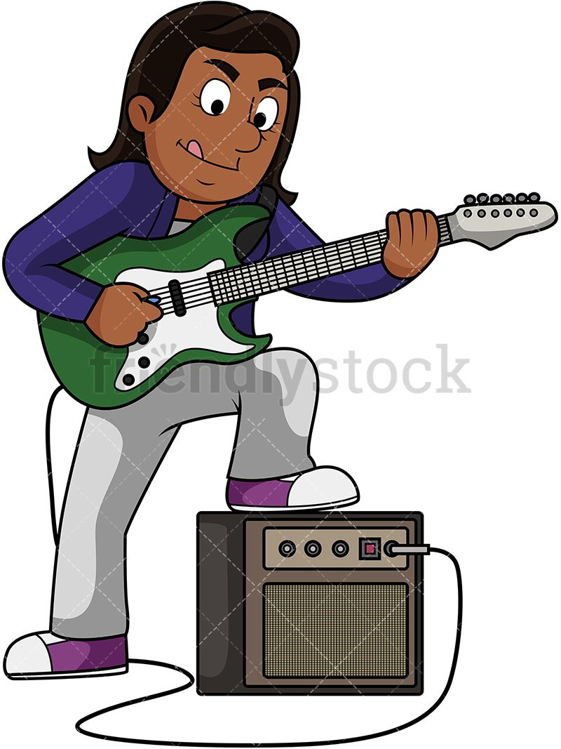 Musician clipart music american. Black woman playing electric
