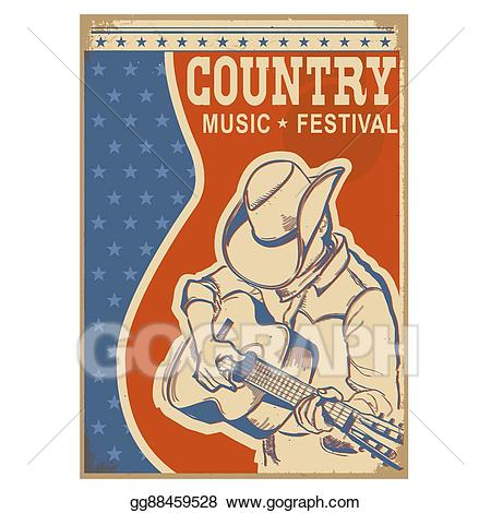Vector art country background. Musician clipart music american