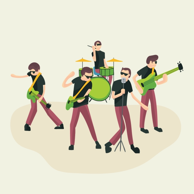 Rock group music band. Musician clipart musical performance