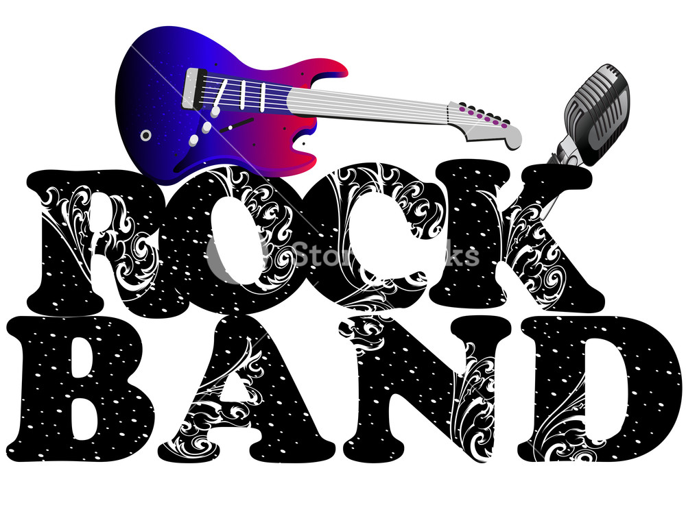 Musical background with guitar. Musician clipart retro music