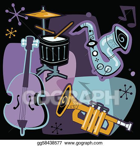 Musician clipart retro music. Eps illustration jazz instruments