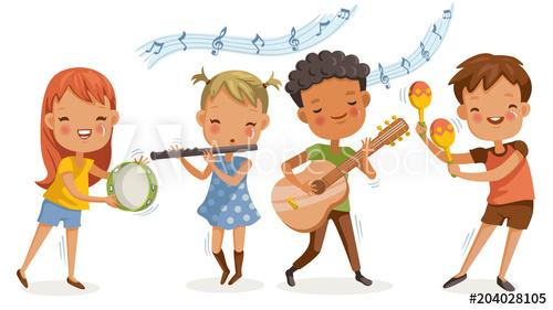 Children music playing boys. Musician clipart school activity