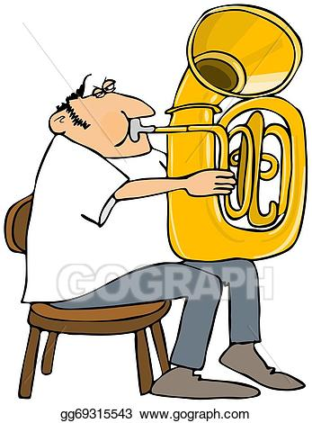 Drawing gg gograph . Musician clipart tuba player