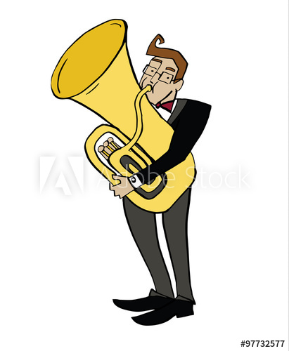 Musician clipart tuba player. Cartoon tubist playing a