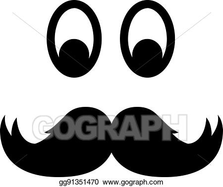 Vector with eyes illustration. Mustache clipart eye