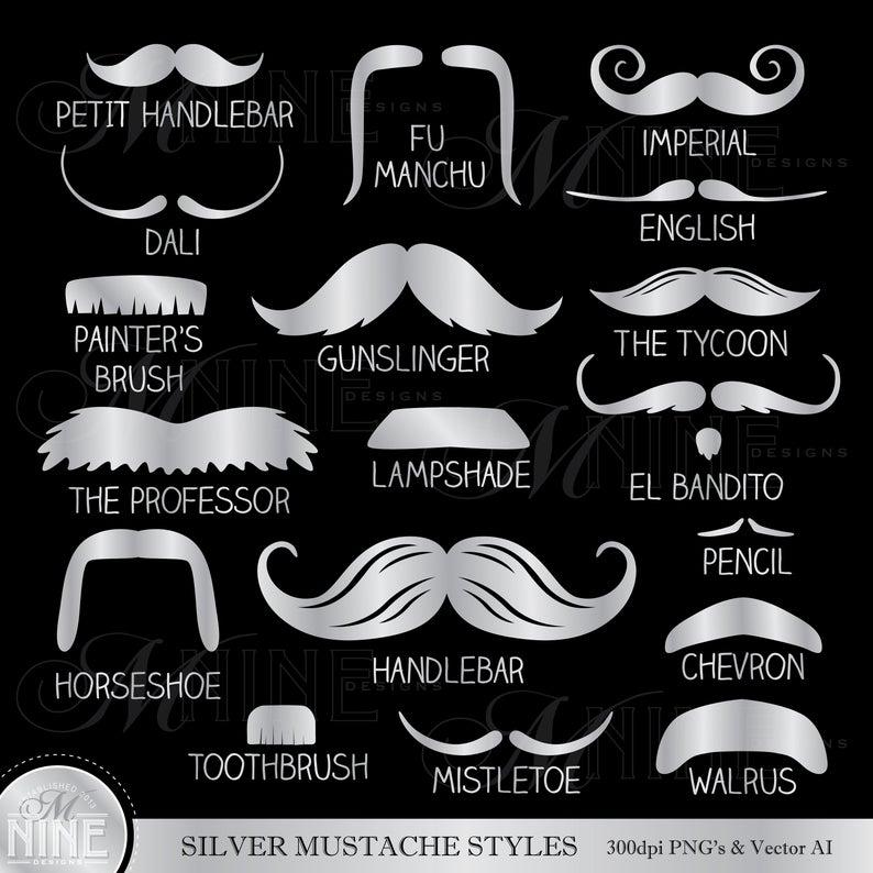 Mustache clipart mustache style. Silver styles clip art