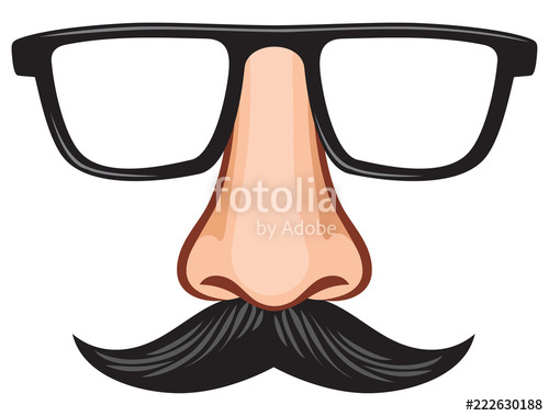 Glasses and with fake. Mustache clipart nose
