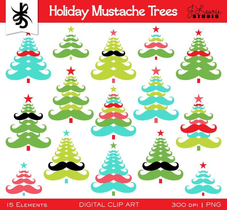 Mustache clipart tree. Digital holiday christmas trees