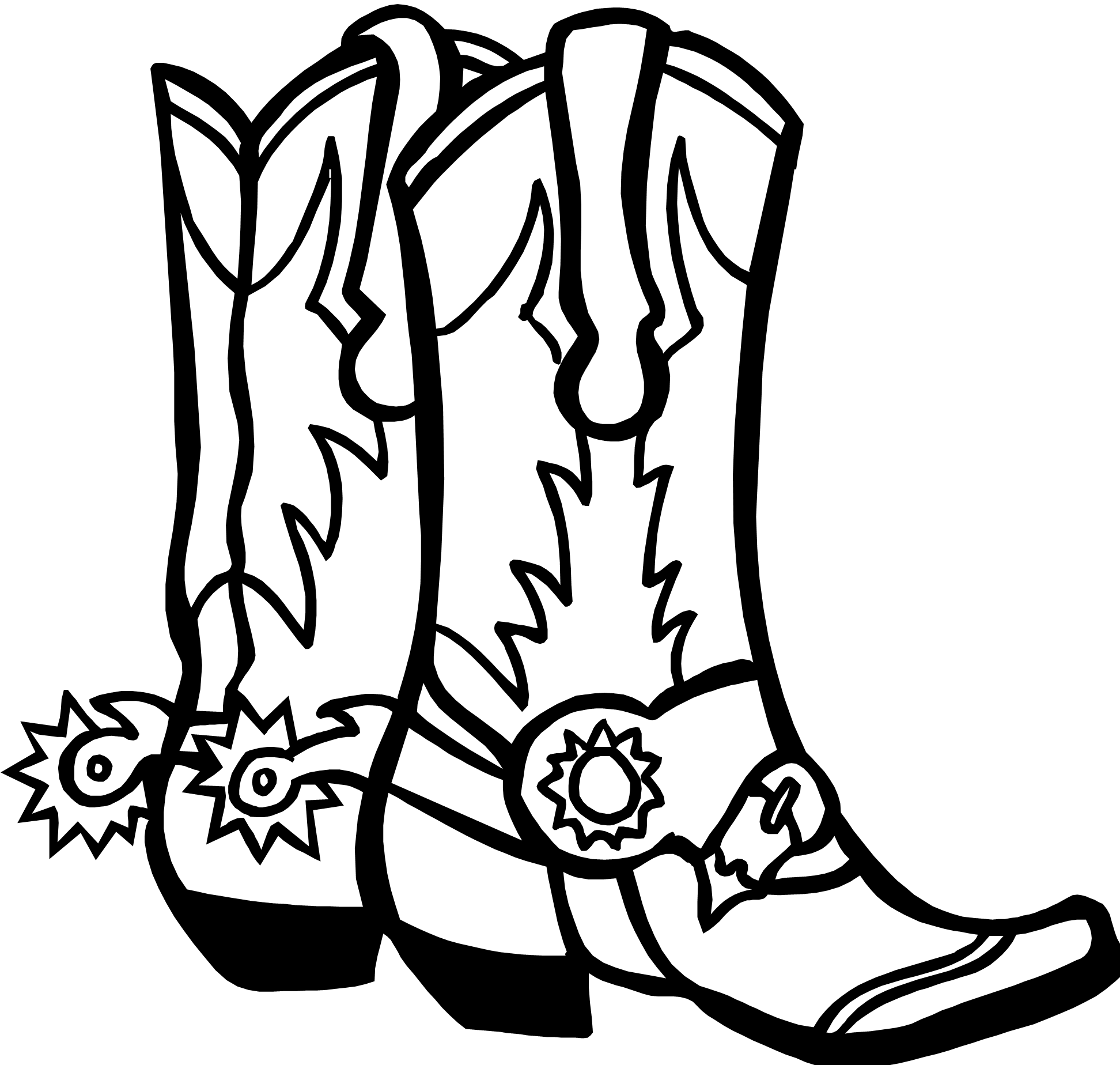 Mustache clipart western. Cowboy boot line drawing