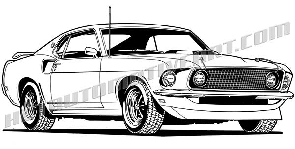 Mustang clipart muscle car.  front view vector