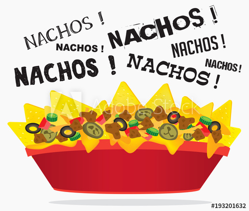 Loaded cheese with meat. Nacho clipart basket