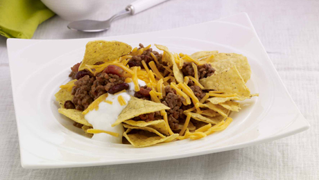 Chilli Beef with Cheese and Tortilla Chips