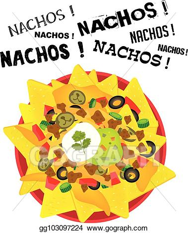 Nacho clipart plate. Vector illustration loaded cheese
