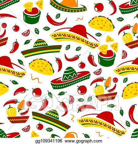 Nacho clipart restaurant mexican. Vector taco and sombrero