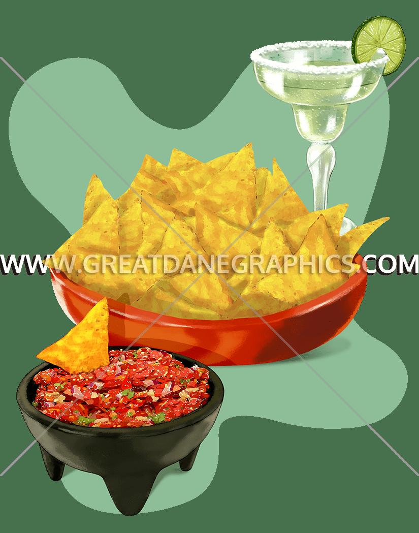 Nachos clipart chip salsa. Chips production ready artwork