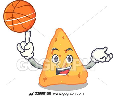 Nachos clipart basket. Vector illustration with basketball