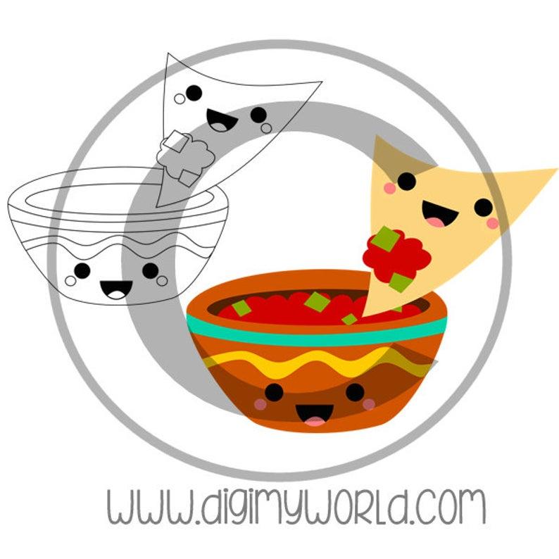 Kawaii chips and digital. Nachos clipart chip salsa