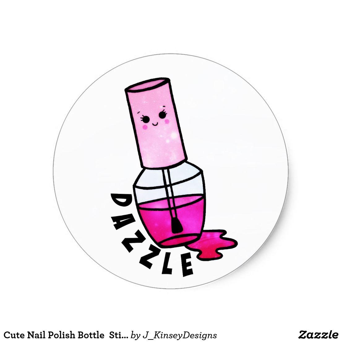 Polish bottle sticker zazzle. Nails clipart cute nail