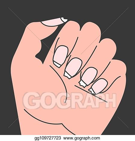 Nail clipart female hand. Eps vector brittle nails